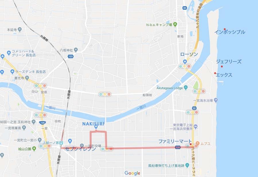 NAKISURF千葉上総一宮 地図